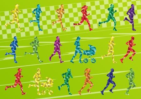 body paint: Corredores de maratón siluetas de colores en verde ilustración paisaje de fondo Vectores