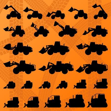 kopalni: Ładowarki Budowie maszyny szczegółowo edytowalne silhouettes kolekcji ilustracji wektorowych tle