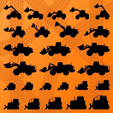 bulldozer: Construction site loaders machinery detailed editable silhouettes illustration collection background vector