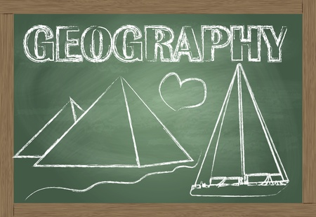 human geography: Geography on the classroom blackboard vector background Illustration