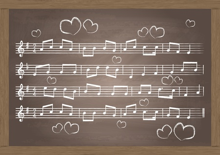 music notes vector: Chalkboard With Music Notes  Vector Illustration Illustration