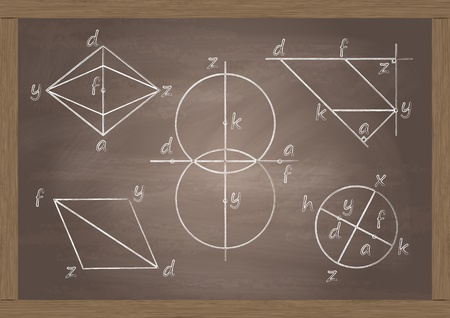 Math classroom chalkboard with geometrical figures in background illustration vector Vector