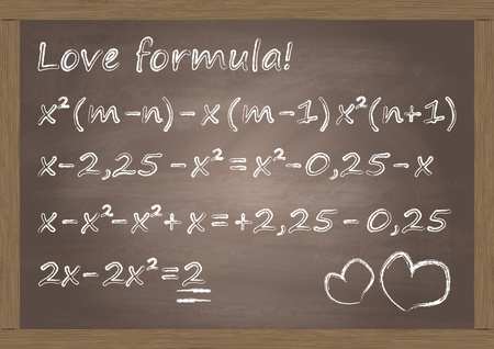 love strategy: Math classroom chalkboard with cute love formula concept illustration background vector Illustration