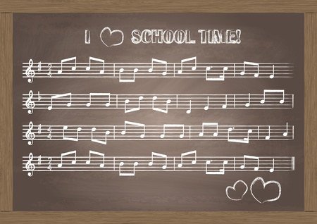 Chalkboard With Music Notes  Vector Illustration Stock Vector - 12931367