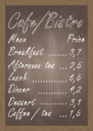 Cafe or bistro food menu chalkboard background illustration vector Vector