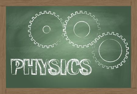 tandwielen: Natuurkunde vector achtergrond met versnellingen op blackboard Stock Illustratie