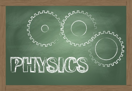 scientific: Physics vector background with gears on blackboard