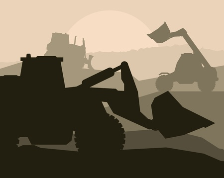 Construction machinery and bulding place vector background Illustration