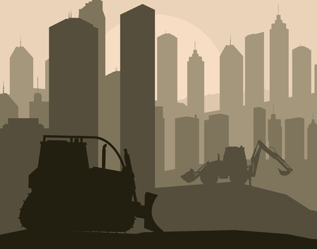 Construction machinery and bulding place vector background Vector