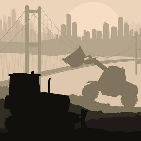 compactor: Construction machinery and bulding place vector background Illustration