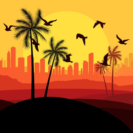 Dunes and migrating birds in Arabic skyscraper city landscape illustration vector Stock Vector - 12931347