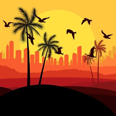 migration: Dunes and migrating birds in Arabic skyscraper city landscape illustration vector