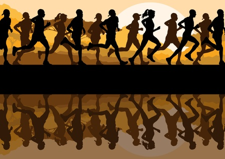 marathon runner: Marathon runners in wild nature mountain landscape background illustration vector Illustration