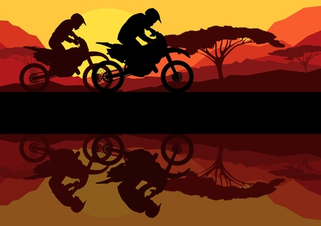 Sport motorbike riders motorcycle silhouettes reflection in wild mountain landscape background illustration vector Vector