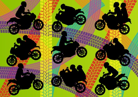 motorbike jumping: Sport motorbike riders silhouettes illustration collection background