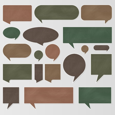 brain storm: Chalkboard speech bubbles and balloons illustration collection background Illustration