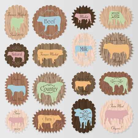 Farm animals market egg and meat labels food illustration collection on wood texture background Illustration