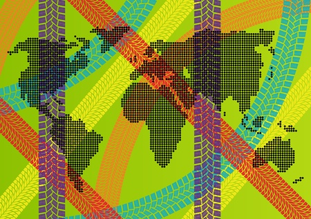 Colorful ecology energy tire footprint world map concept illustration background Vector