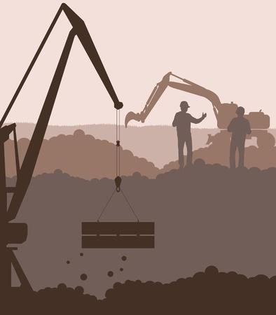 sandpit: Excavadoras Cargadoras y de la gr�a en el fondo de la construcci�n del sitio Vectores