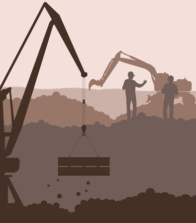 building site: Excavator loader and crane at construction site background