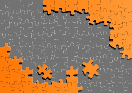 cross match: Orange jigsaw puzzle background for poster Illustration
