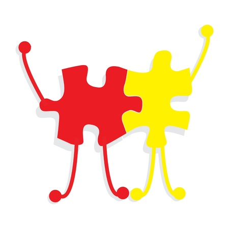 businessteam: Business partners building a company concept made of puzzle men and woman over white