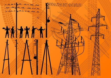 electrical safety: Electricity poles and structures construction engineers silhouettes illustration collection background vector