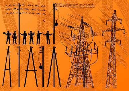 torres de alta tension: Postes de electricidad y la construcción de las estructuras de los ingenieros de siluetas ilustración vectorial de fondo la colección Vectores