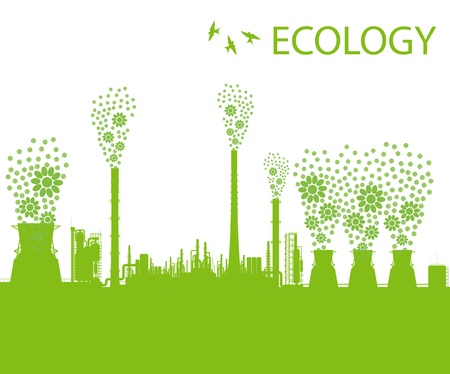 Ecology factory chimney background concept with no pollution Vector