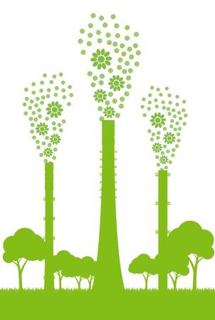 industry background: F�brica de Ecolog�a chimenea de fondo concepto sin contaminaci�n