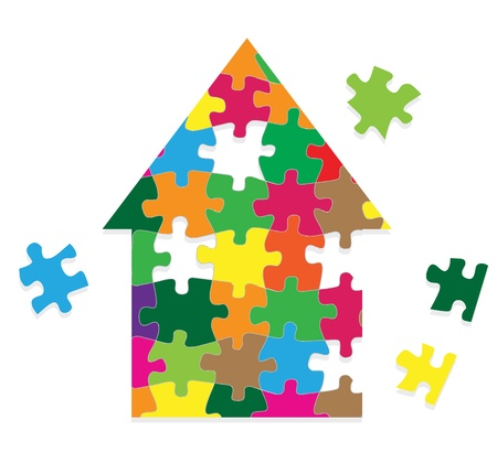 art piece: Colorful jigsaw puzzle house background for poster