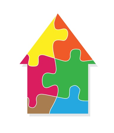 connection block: Colorful jigsaw puzzle house background for poster