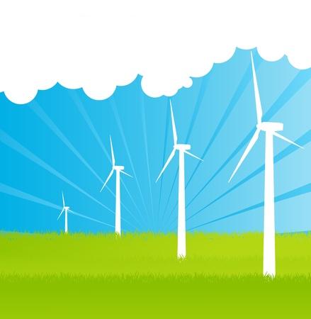 generadores: Generadores de electricidad del viento de fondo para el cartel Vectores