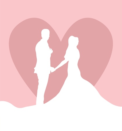 Wedding card with man, women and heart background Vector