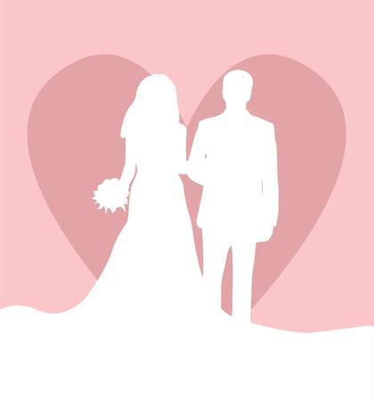 anniversario di matrimonio: Scheda di nozze con uomo, donna e sfondo cuore