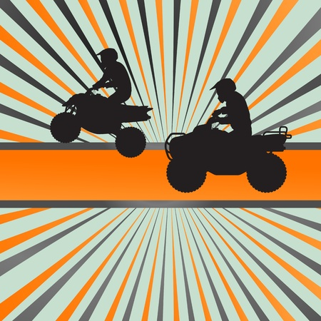 motorized bicycle: Quad bike silhouette background for poster Illustration