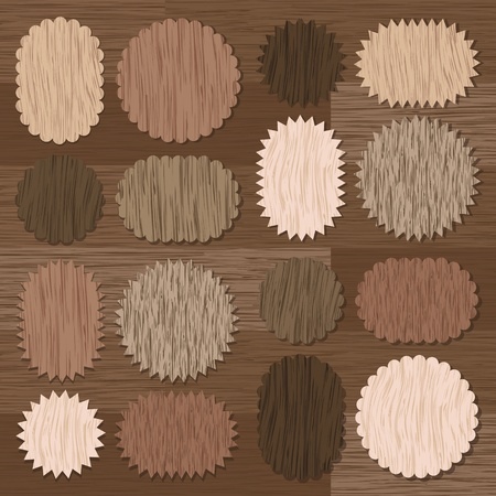 timbered: Natural wood texture speech bubbles and balloons illustration collection background