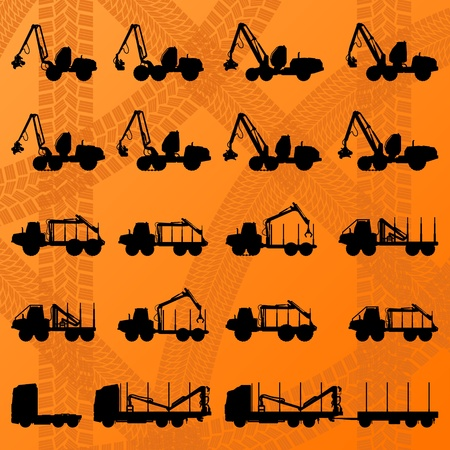 logger: Forestry tractors, trucks and loggers hydraulic machinery detailed editable silhouettes illustration collection background