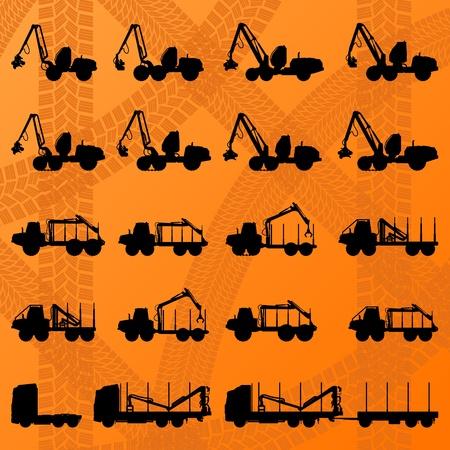 Tractores, camiones forestales y madereros maquinaria hidráulica detallada editables ilustración de fondo siluetas colección Ilustración de vector