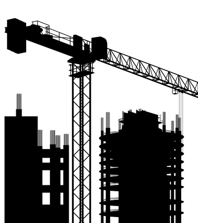 Industrial skyscraper city and crane landscape skyline background illustration Stock Vector - 13412713