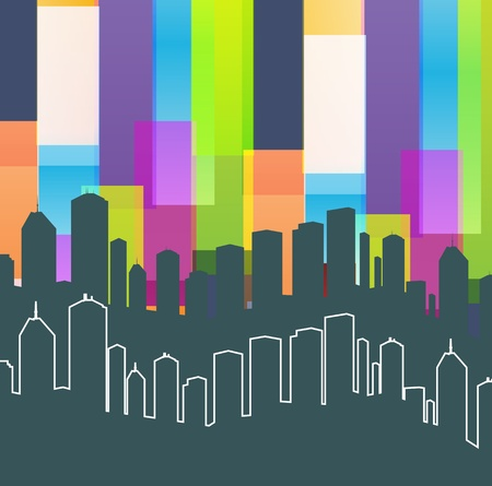 Colorful panorama city background with space for text Stock Vector - 13412299