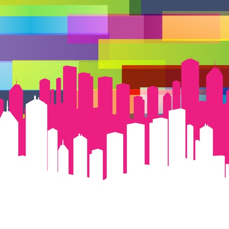 Colorful panorama city background with space for text Vector