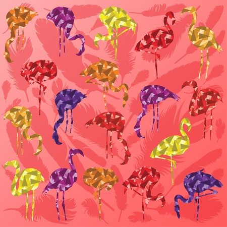 pink flamingo: Colorful flamingo bird silhouettes illustration collection background