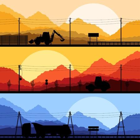 convoy: Highway truck selvaggia, natura, paesaggio di sfondo sfondo illustrazione di raccolta
