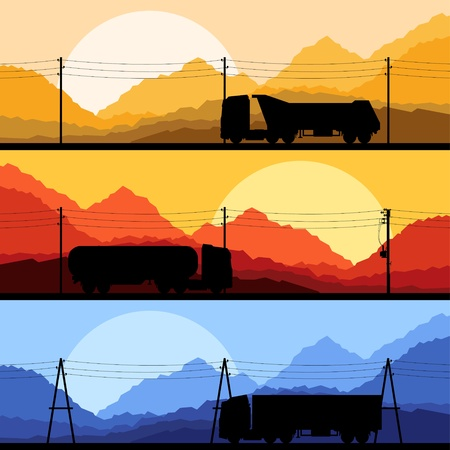 Highway truck wild nature landscape background illustration collection background Stock Vector - 13412360