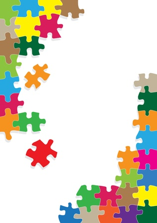 jigsaws: Colorful jigsaw puzzle background for poster