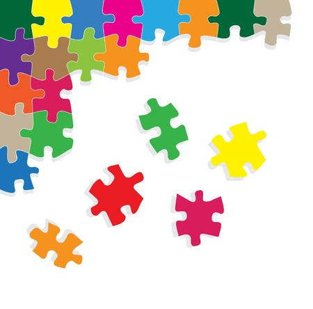 green board: Colorful jigsaw puzzle background for poster