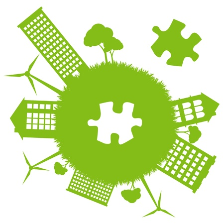 Green planet missing piece of green jigsaw puzzle for poster Vector