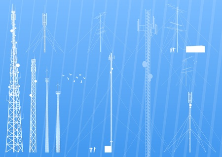 wireless tower: Telecommunications tower, radio or mobile phone base station background