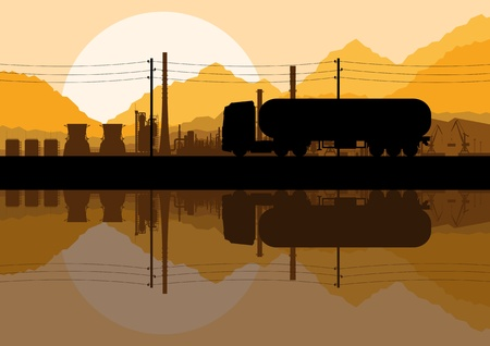 Industrial oil refinery factory and gasoline truck cistern silhouettes landscape background illustration Stock Vector - 13412589